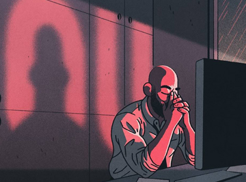 Illustration of person sitting in front of a laptop in a dark room, with his head in his hands.