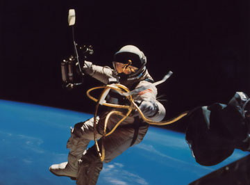 Image of an astronaut floating in space.