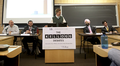 Kellogg Debate participants, from left to right: Klaus Weber, Craig DePriester '12, moderator David Besanko, Mohan Sawhney and Matthew Gold '12