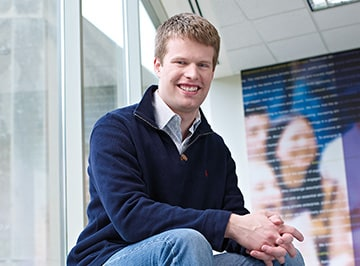 A portrait of Quentin Jadoul, a one-year MBA student at Kellogg.