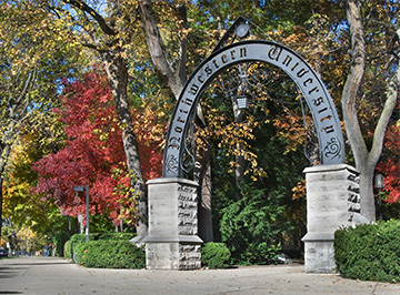 The Northwestern Arch on Evanston's campus as seen from Sheridan road.