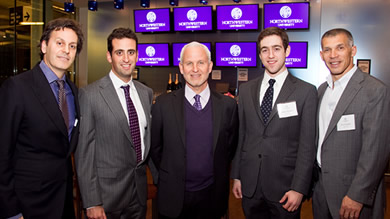 From left: Salon founder David Kabiller '87, Salon Award winner Ian Mashal '11, Northwestern University President Morton Schapiro, undergraduate Salon Award winner Jesse Wiener '11 and New York Yankees General Manager Joe Girardi '86