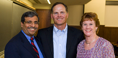 Dean Dipak Jain, 2008 Beacon Capital Executive in Residence Jim Scherr '89, and Liz Howard, Associate Director of SEEK/Associate Director of the Center for Nonprofit Management