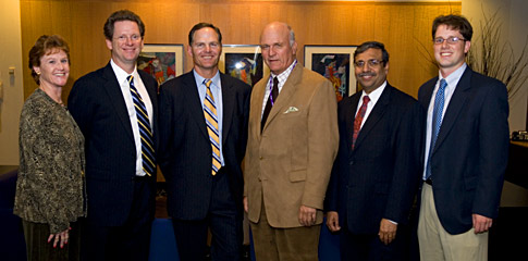 Left to right: Liz Howard, Associate Director of SEEK/Associate Director of the Center for Nonprofit Management; Tim Feddersen, Director of SEEK and the Wendell Hobbs Professor of Managerial Economics & Decision Sciences; Jim Scherr '89, 2008 Beacon Capital Executive in Residence; Don Haider, Director of the Center for Nonprofit Management; Dipak Jain, Dean of the Kellogg School of Management; Chris Ashley '08, Social Impact Club Civic Leadership