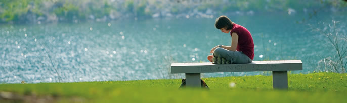 a student studies on a bench near the lake