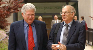 James J. O'Connor Professor of Decision and Game Sciences Ehud Kalai (left) with Daniel Kahneman, the winner of the 2002 Nobel Prize in Economics