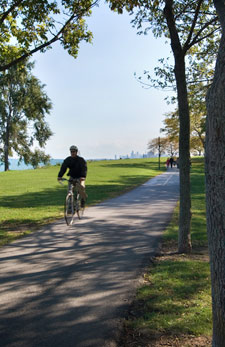 Lakefront path on campus