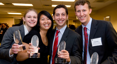 Students pose for a picture after winning the ABI Case competition