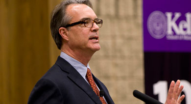 James B. Stewart, Pulitzer Prize-winning journalist, said economic moral hazard must be a secondary concern as the U.S. government looks to shore up the financial system. He delivered the Kellogg Distinguished Lecture on Nov. 17.