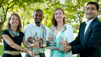 Four Pillars Awards winners, from left: Lauren Passero, Varsay Sirleaf, Tushar Jaruhar, and Jennifer Beall, all '10