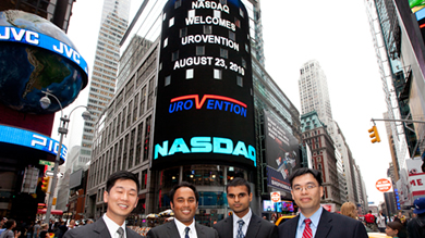 Members of Northwestern's UroVention team at NASDAQ headquarters. From left: Philip Herman, Omar Alam, Vishal Arya and Jason Chu. (Not pictured: Nas Alidu, Raj Kurpad, John Nazarian, Evelyn Auyeung and TJ Kim.)