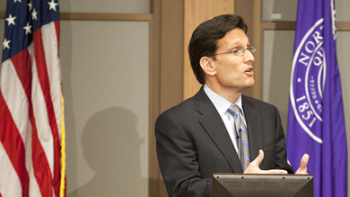 """We must ensure fairness at every level of the economic ladder,"" U.S. House Majority Leader Eric Cantor told Kellogg students Oct. 28."
