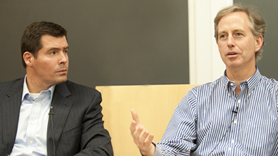 Hayneedle Inc. Chairman Carter Cast '92 (left) and New World Ventures partner Matt McCall '91 spoke to Kellogg students on May 3.