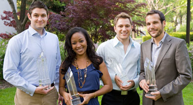 Four Pillar Award winners, from left: Frank Sasso, Ada Osakwe, Adam Louras and Josh Engel, all members of the Class of 2011. Not pictured: Franco Famularo '11.