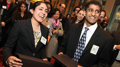 Sachpreet Chandhoke (left) and Puneet Gupta, both '11, took first place at the 2011 International Impact Investing Challenge in New York City on April 8.