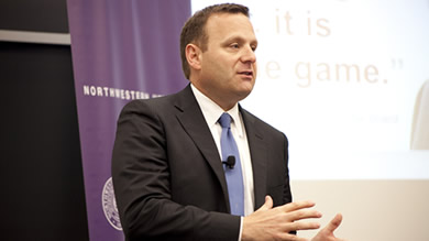 """We gain a competitive advantage from the intimacy the owner/operator has with the customer,"" Joe DePinto '99, president and CEO of 7-Eleven, told Kellogg students May 25."