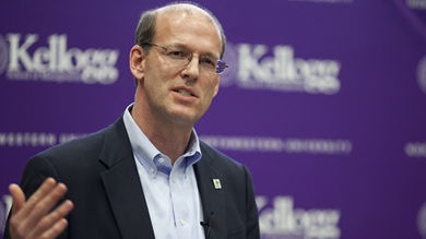 """I believe people in every organization want purpose … and that people want to connect with something more than a paycheck,"" Habitat for Humanity CEO Jonathan Reckford told Kellogg students April 28."