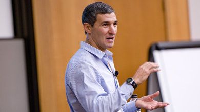 "Honest Tea president and co-founder Seth Goldman encouraged Kellogg students to incorporate social responsibility into their business goals. ""Think about where the real impact is, and don't do it on the side,"" he said."