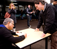 Mind-body expert Deepak Chopra signed books and greeted Kellogg students after a Feb. 8 talk at the Kellogg School.