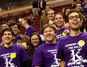 Hundreds of Kellogg students turned out to cheer for the team in purple. Photo caption here