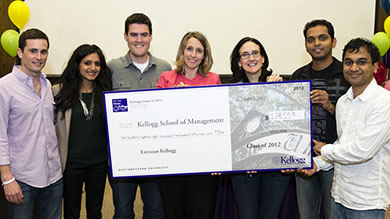 Members of the Class of 2012 present the class gift of $128,559 to Dean of Students Betsy Ziegler (center) and Kellogg Dean Sally Blount (third from right).