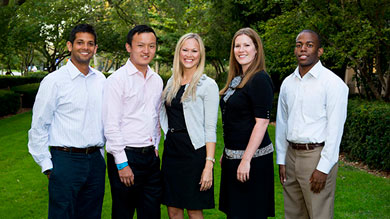 Kellogg's 2013 Siebel Scholars, left to right: Rushi Sheth, Shenqing (Robin) Tang, Laurie Gallien, Jeanne Gatto and Elliot Poindexter