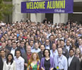Alumni gather in front of the Donald P. Jacobs Center to celebrate Reunion 2013.