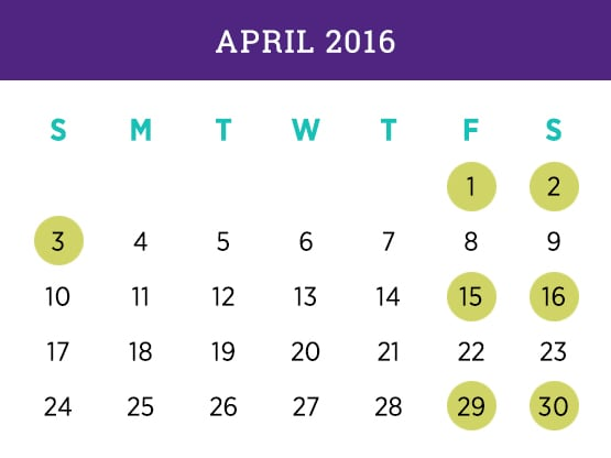 Kellogg Executive MBA — April 2016 Evanston calendar