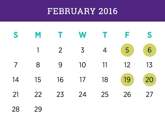 Kellogg Executive MBA — February 2016 Evanston calendar