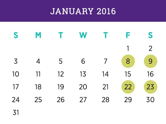 Kellogg Executive MBA — January 2016 Evanston calendar