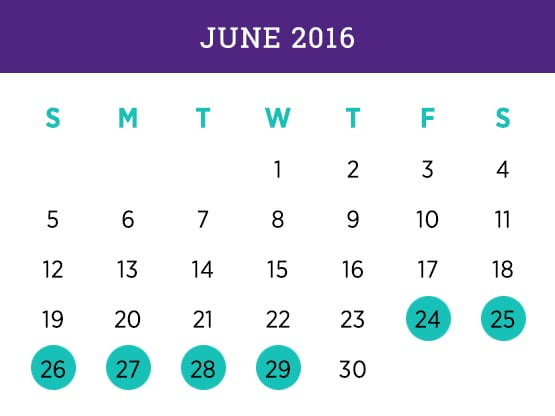 Kellogg Executive MBA — June 2016 Evanston calendar