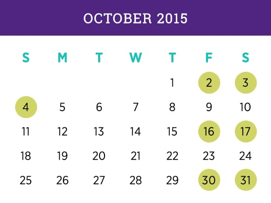 Kellogg Executive MBA — October 2015 Evanston calendar