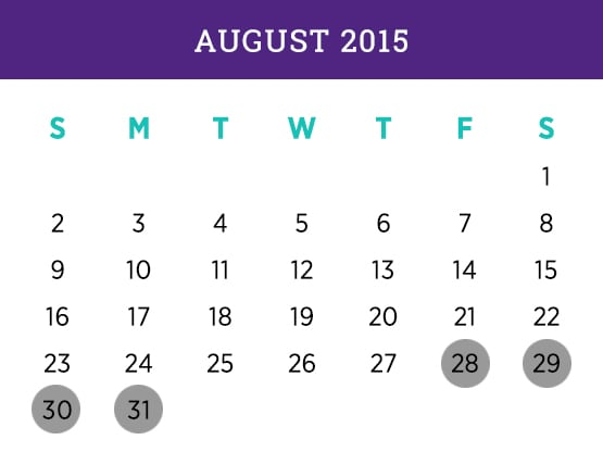 August 2015 Schedule Calendar Miami campus — Kellogg Executive MBA