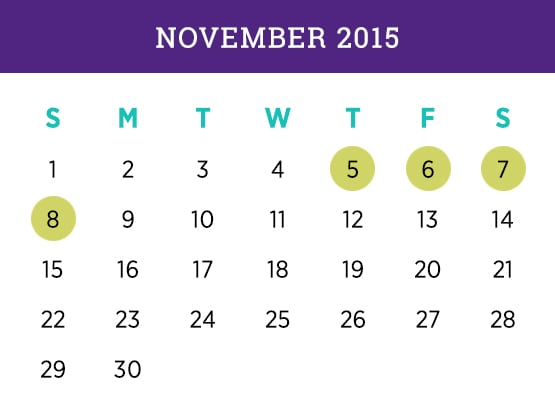 November 2015 Schedule Calendar Miami campus — Kellogg Executive MBA
