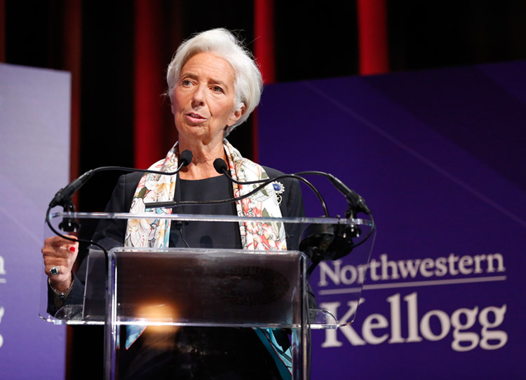 Lagarde speaks on global economic outlook at Kellogg School of Management at Northwestern University