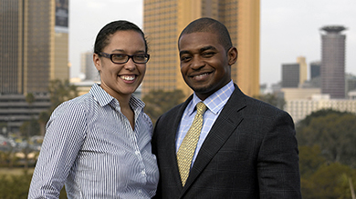 Husband-and-wife team of Susan Edwards '10 (left) and Varsay Sirleaf '10 work on bringing investment opportunities to Africa.