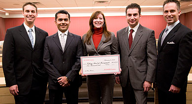 A team from the Part-Time program bested four other Kellogg teams to win the Coca-Cola Channel Reinvention Case Competition. Left to right: Matthew Null, Varun Goyal, Amber Jacoby, Umut Tekin and Keith Maziarek.