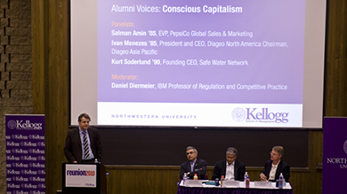 The Conscious Capitalism discussion at Reunion 2010 was moderated by Kellogg Professor Daniel Diermeier (far left). The panel featured (from left) alumni Salman Amin '85, Ivan Menezes '85 and Kurt Soderlund '90.