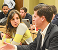 Students brainstorm business plans at StartupNU on Nov. 9