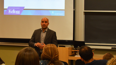 Amit Bouri '07 discussed the changes to impact investing Oct. 28 and 29 as part of the Beacon Capital Partners Executive in Residence program at the Kellogg School of Management