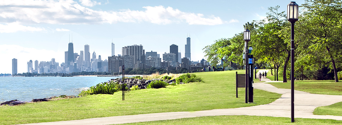 A view of Chicago's skyline from the Evanston campus.